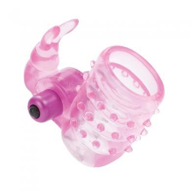 Basic Essentials Stretchy Vibrating Bunny Enhancer Pink