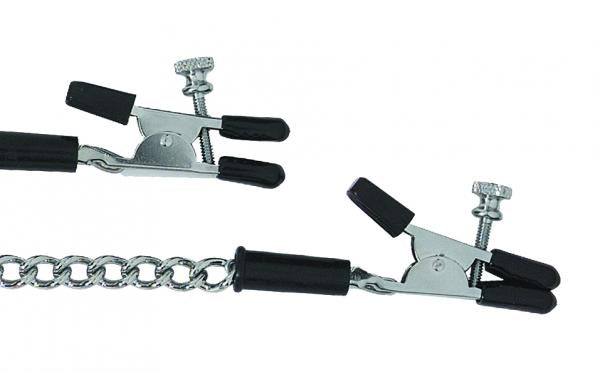 Adjustable Alligator Nipple Clamps With Link Chain Silver