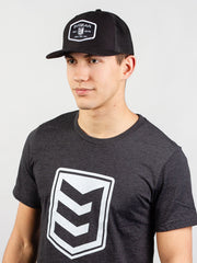 Woven Patch Mesh Trucker Hat - Black