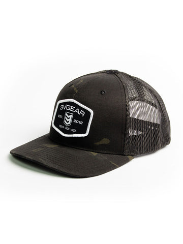 Woven Patch Mesh Trucker Hat - Black Camo