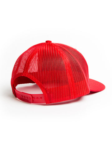 Woven Patch Mesh Trucker Hat - Red