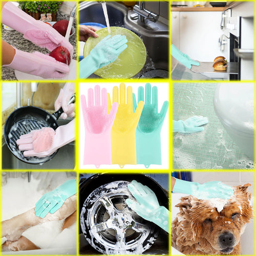 Bristled Silicone All Purpose Cleaning Gloves