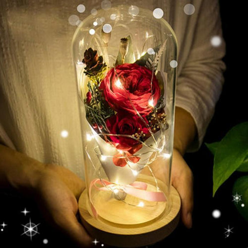 Hot Sale Enchanted Rose Flower LED Light in Glass Dome