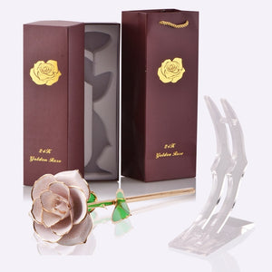 24k Gold Dipped Rose Flower Artificial Flowers Eternal Rose with Stand