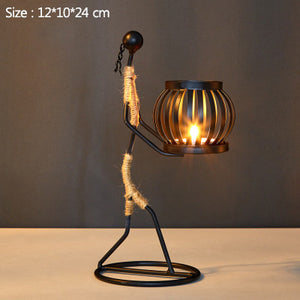 Nordic Metal Sculpture Candle Holder - Handmade Art Gift