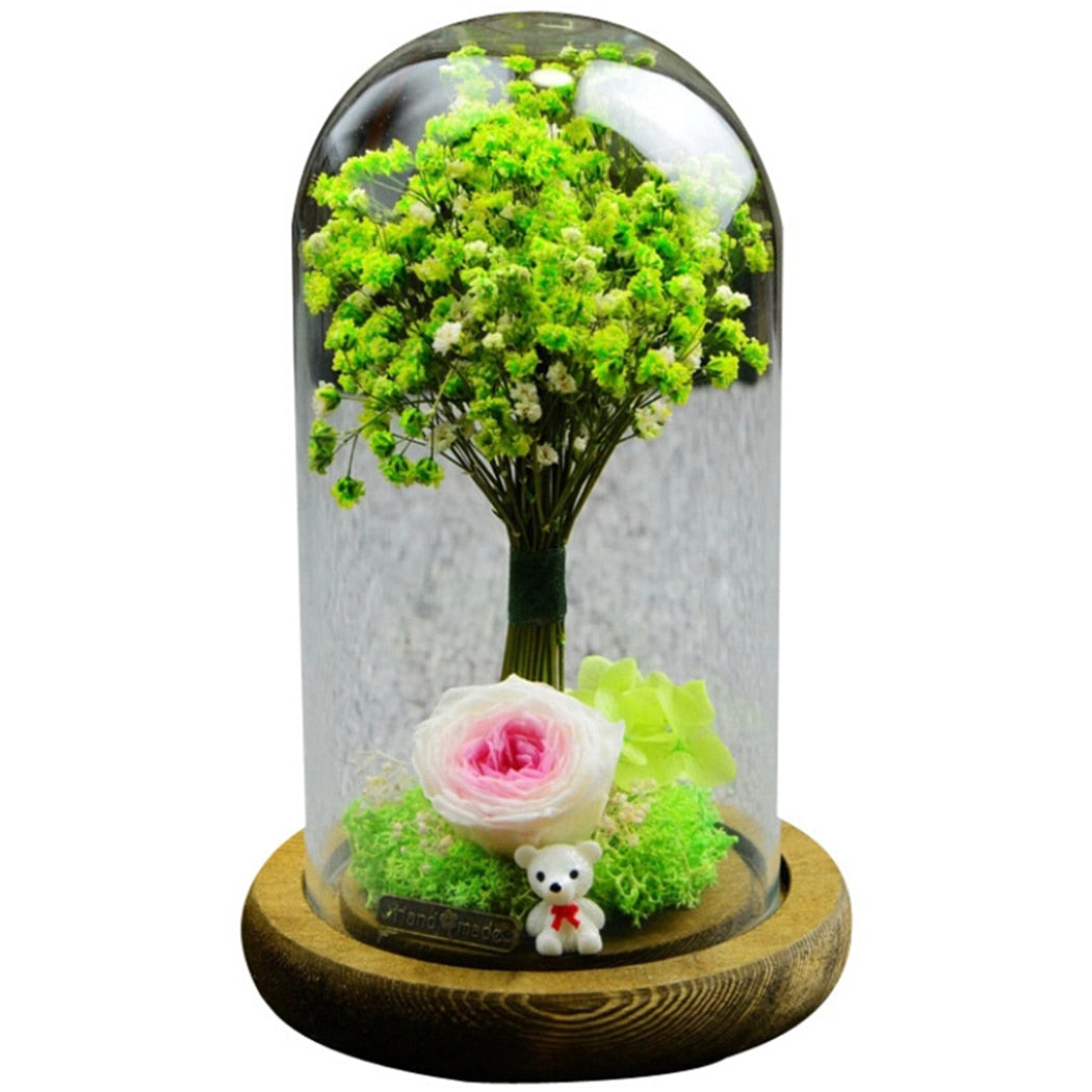 Eternal Flower Glass Cover Gift Rose