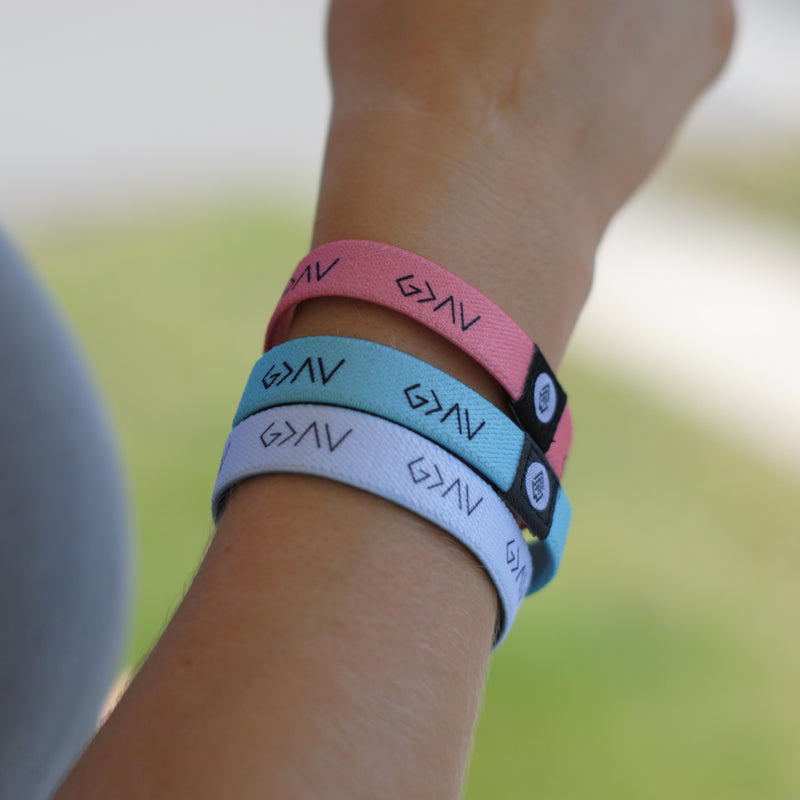 "3-PACK | ""God is Greater"" Reversible Wristbands (Mint, Pink, White) - Christian Apparel and Accessories - Ascend Wood Products"