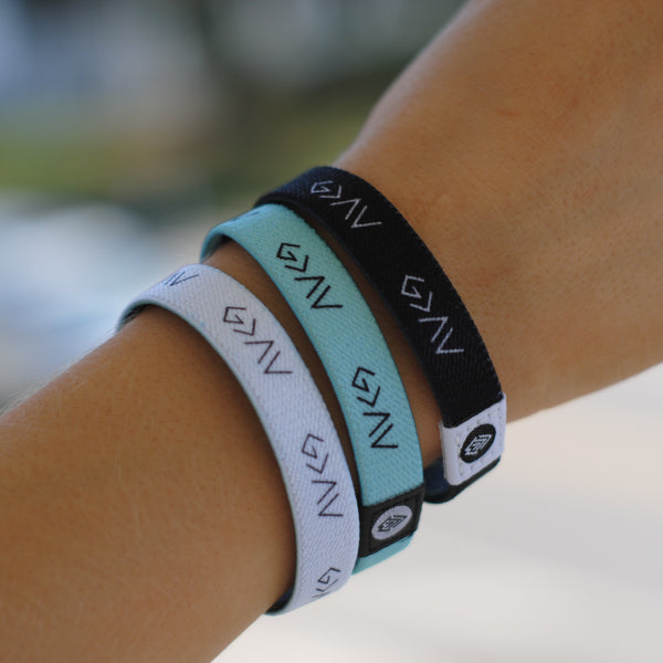 "3-PACK | ""God is Greater"" Reversible Wristbands (Mint, Black, White) - Christian Apparel and Accessories - Ascend Wood Products"