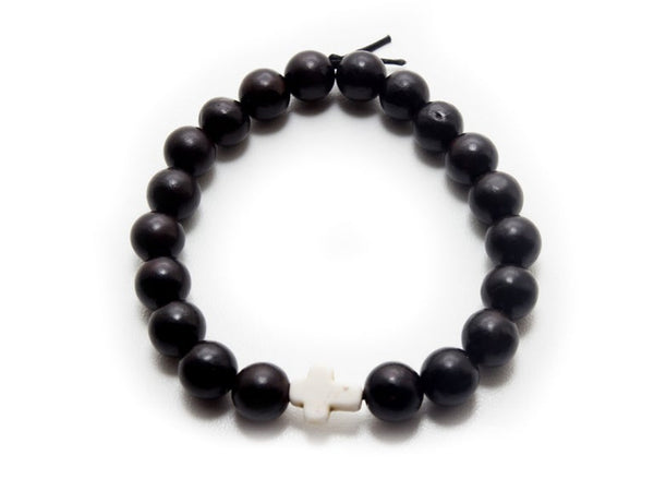 Blackwood White Cross Bracelet