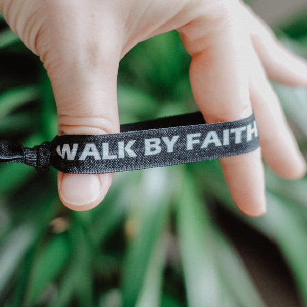 Walk By Faith, Not By Sight - Hair Tie Wristband - Christian Apparel and Accessories - Ascend Wood Products