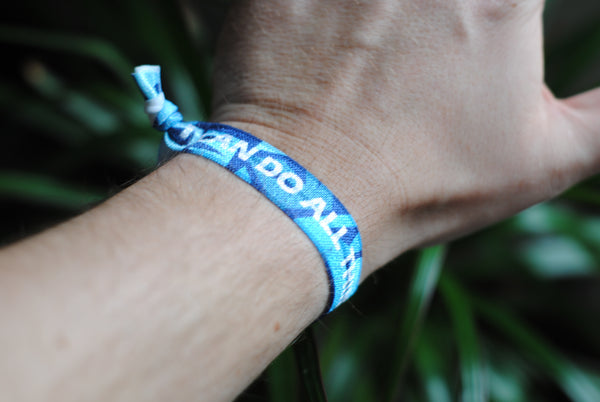 "Philippians 4:13 - ""I Can Do All Things Through Christ"" Hair Tie Wristband (Light Blue)"