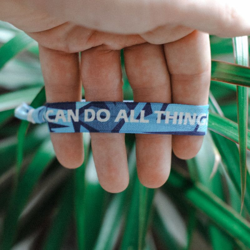 "[Limited Edition] Philippians 4:13 - ""I Can Do All Things Through Christ"" Hair Tie Wristband (Light Blue)"