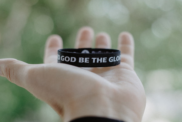 TO GOD BE THE GLORY Reversible Wristband - Black - Christian Apparel and Accessories - Ascend Wood Products