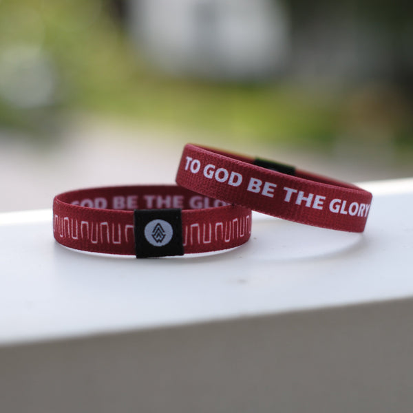 TO GOD BE THE GLORY Reversible Wristband - Wine - Christian Apparel and Accessories - Ascend Wood Products