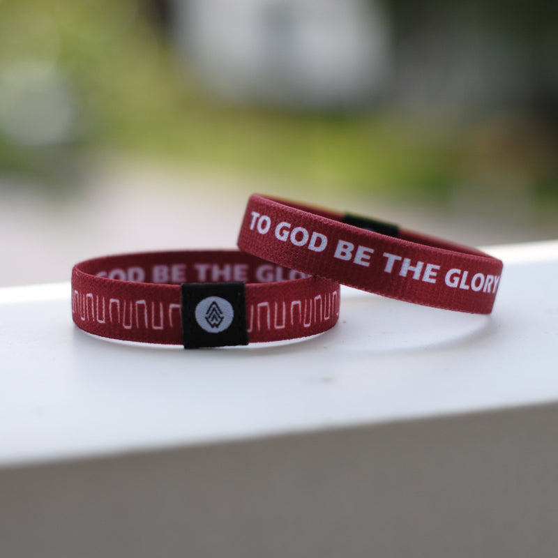 TO GOD BE THE GLORY Reversible Wristband - Wine