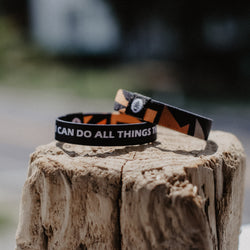 "Philippians 4:13 - ""I Can Do All Things Through Christ"" Reversible Wristband - Black - Christian Apparel and Accessories - Ascend Wood Products"