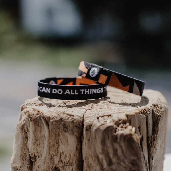 "Philippians 4:13 - ""I Can Do All Things Through Christ"" Reversible Wristband - Black"