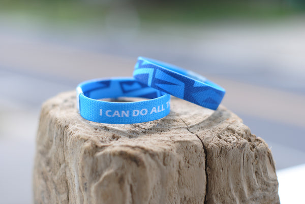 "Philippians 4:13 - ""I Can Do All Things Through Christ"" Reversible Wristband - Aqua Blue - Christian Apparel and Accessories - Ascend Wood Products"
