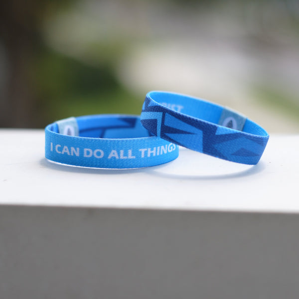 "Philippians 4:13 - ""I Can Do All Things Through Christ"" Reversible Wristband - Light Blue - Christian Apparel and Accessories - Ascend Wood Products"