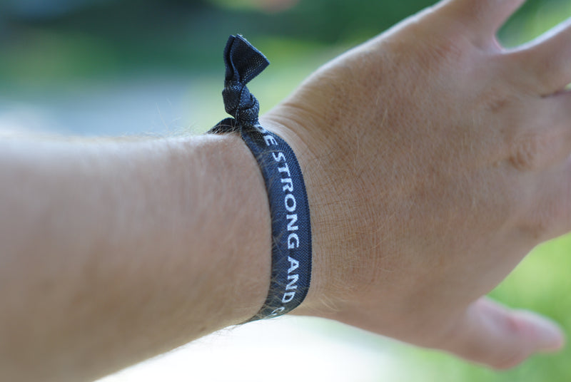 NEW* Joshua 1:9 Be Strong and Courageous - Hair Tie Wristband (Black) - Christian Apparel and Accessories - Ascend Wood Products