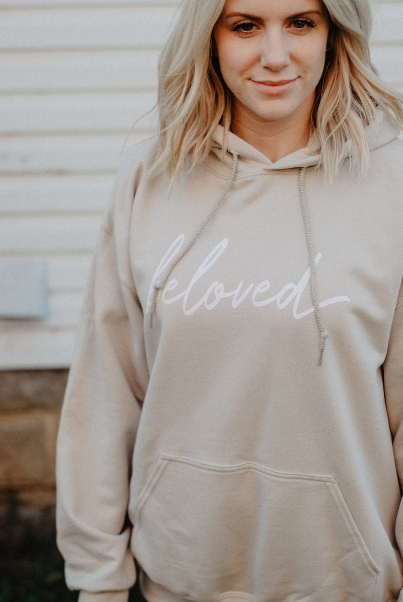 Beloved Hoodie - Sand - Christian Apparel and Accessories - Ascend Wood Products