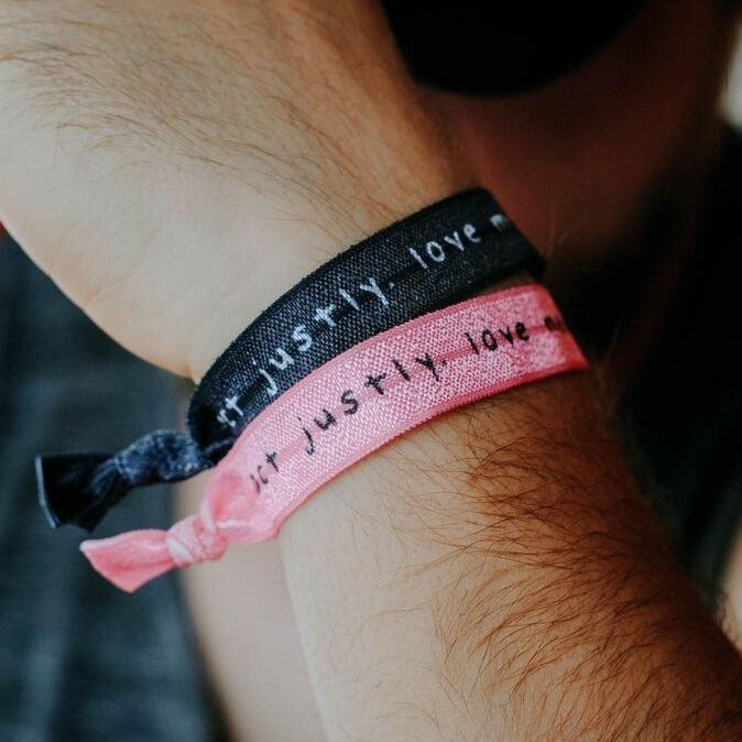 "3-PACK | ""Act Justly, Love Mercy, Walk Humbly"" [Micah 6:8] Hair Tie Wristbands - Christian Apparel and Accessories - Ascend Wood Products"
