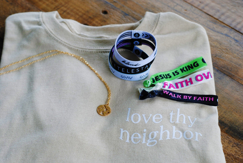 Ultimate Gift Bundle ($170 Value) 1 Shirt + 3 Reversible Wristbands + 3 Hair Tie Wristbands + 1 Necklace - Christian Apparel and Accessories - Ascend Wood Products