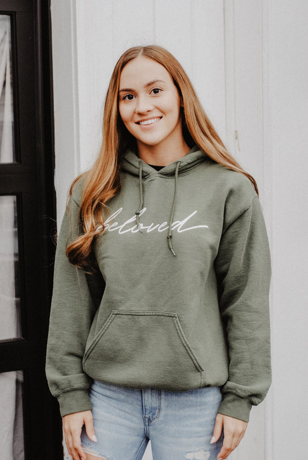 Beloved Hoodie - Olive - Christian Apparel and Accessories - Ascend Wood Products