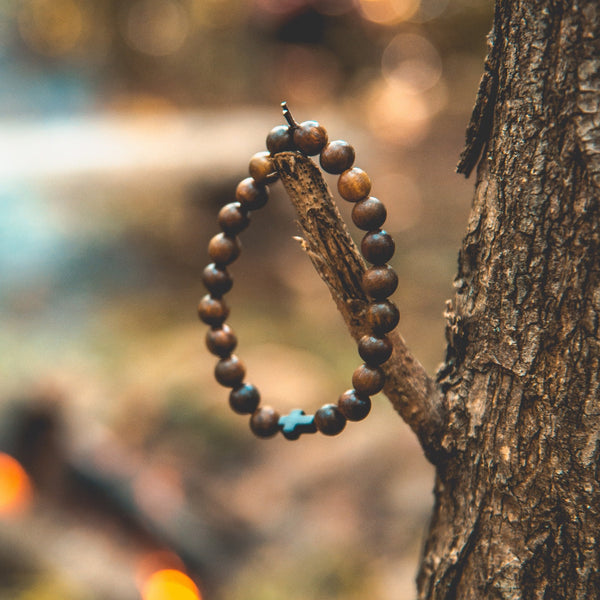 Handmade Sandalwood Black Cross Bracelet - Christian Apparel and Accessories - Ascend Wood Products