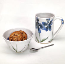 Load image into Gallery viewer, Blue Flowers Handpainted Stoneware Ceramic Nibbles Bowl Sugar Bowl Handmade