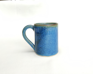 Coffee cup - mug - intense blue stoneware ceramic - handmade - also made to order