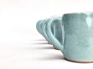 Espresso coffee cup mini mug handmade stoneware ceramic pale jade green glaze. Also made to order