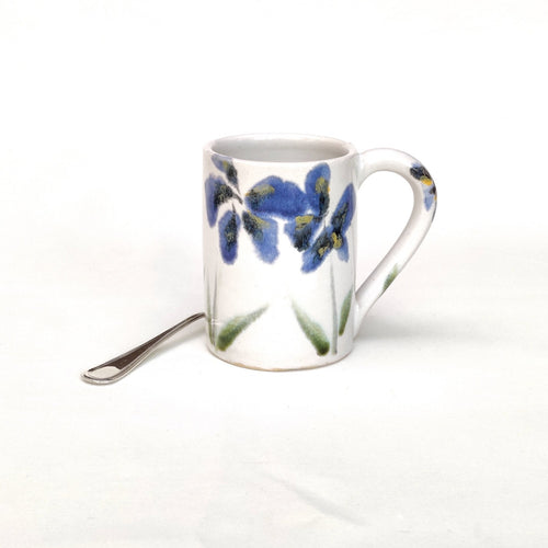 Coffee cup - mug - blue majolica flowers hand painted on white tin glaze - handmade - also made to order