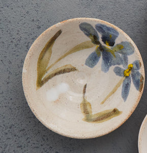 Single Mini Bowl Stoneware Ceramic White Glaze with Flowers Majolica
