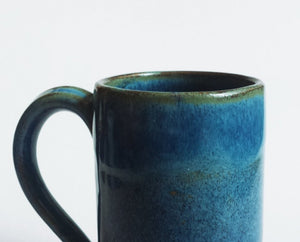 Medium blue green stoneware ceramic mug - tall mug - handmade - also made to order