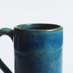 Large blue green stoneware ceramic mug - tall mug - handmade - also made to order