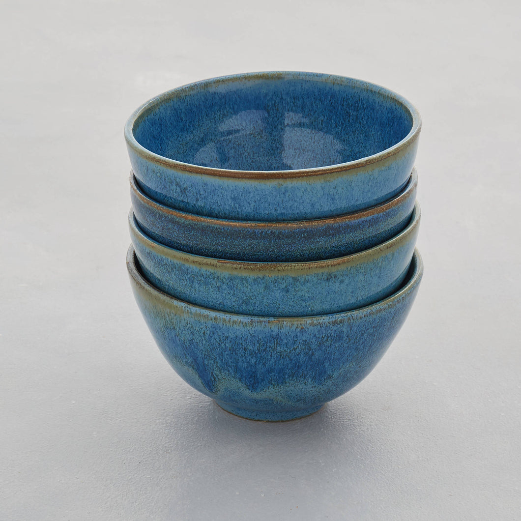 Set of 4 Blue Green Handmade Stoneware Ceramic Nibbles Bowls Sugar Bowls also Made to Order