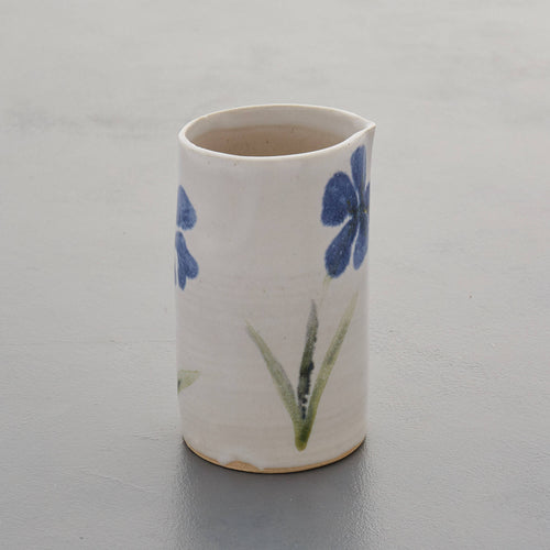 Blue Flowers ceramic jug - stoneware - milk jug - vase