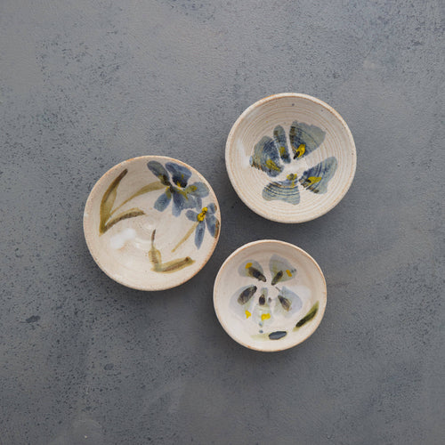 Mini Bowl Stoneware Ceramic White Glaze with Flowers Majolica