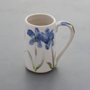 Flower mug - handmade white stoneware ceramic majolica - also made to order