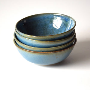 Blue Green Stoneware Ceramic Cereal Bowl Ice Cream Bowl Handmade