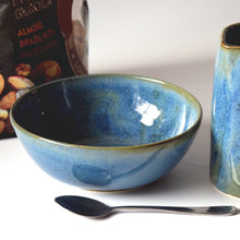 Load image into Gallery viewer, Blue Green Stoneware Ceramic Cereal Bowl Ice Cream Bowl Handmade