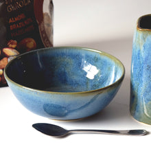Load image into Gallery viewer, Set of 4 Blue Green Handmade Stoneware Ceramic Cereal Bowls Ice Cream Bowls