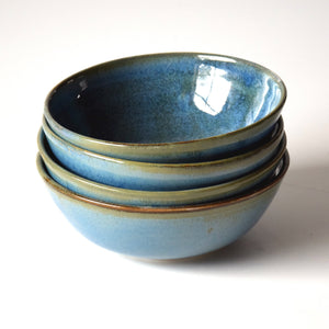 Set of 4 Blue Green Handmade Stoneware Ceramic Cereal Bowls Ice Cream Bowls
