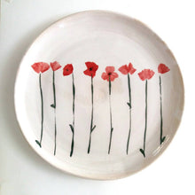Load image into Gallery viewer, Made to order. Very Large Stoneware Ceramic Majolica Platter Dish with Poppies