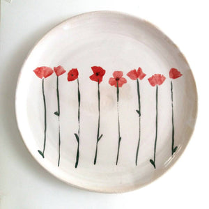 Made to order. Very Large Stoneware Ceramic Majolica Platter Dish with Poppies