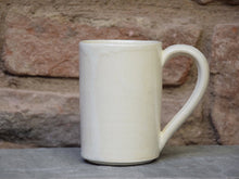 Load image into Gallery viewer, Medium Ivory White Stoneware Ceramic Mug - tall mug - handmade.