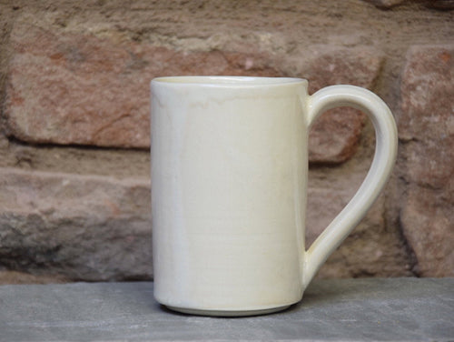 Medium Ivory White Stoneware Ceramic Mug - tall mug - handmade.