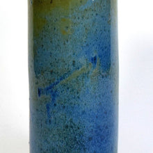 Load image into Gallery viewer, Tall bronze blue green stoneware cylinder vase