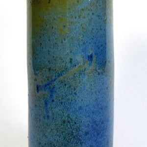 Tall bronze blue green stoneware cylinder vase